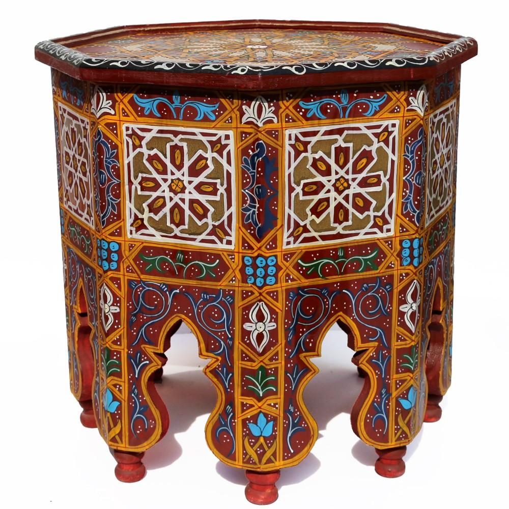 Orientalischer Teetisch Aus Holz Ahlam Handbemalen