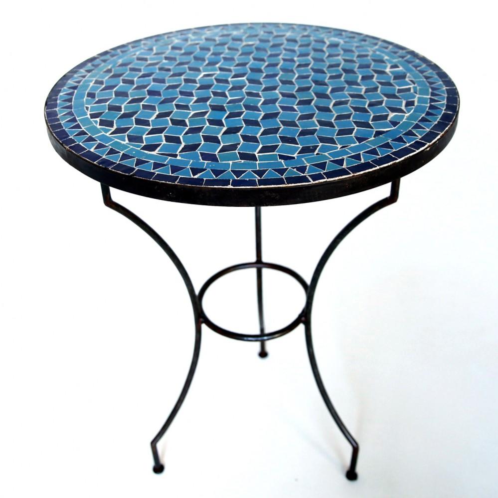 Marokkanischer mosaiktisch fassia blautuerkis d60cm albazar for Marokkanischer mosaiktisch