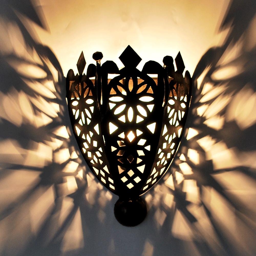 Marokkanische wandleuchte aus eisen leyla albazar - Wandlampe mediterran ...