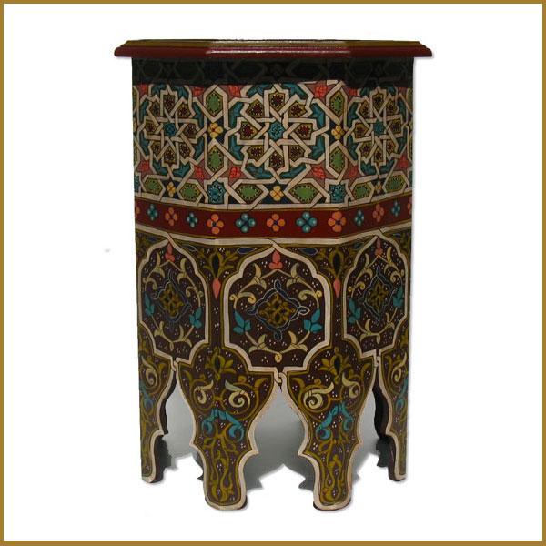 Handbemalter tisch albazar for Orientalischer tisch holz
