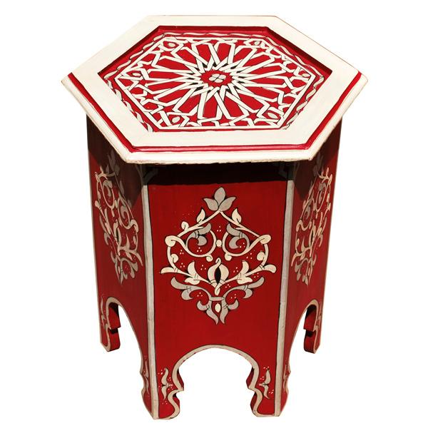 Orientalischer Teetisch Aus Holz Rouge Handbemalen