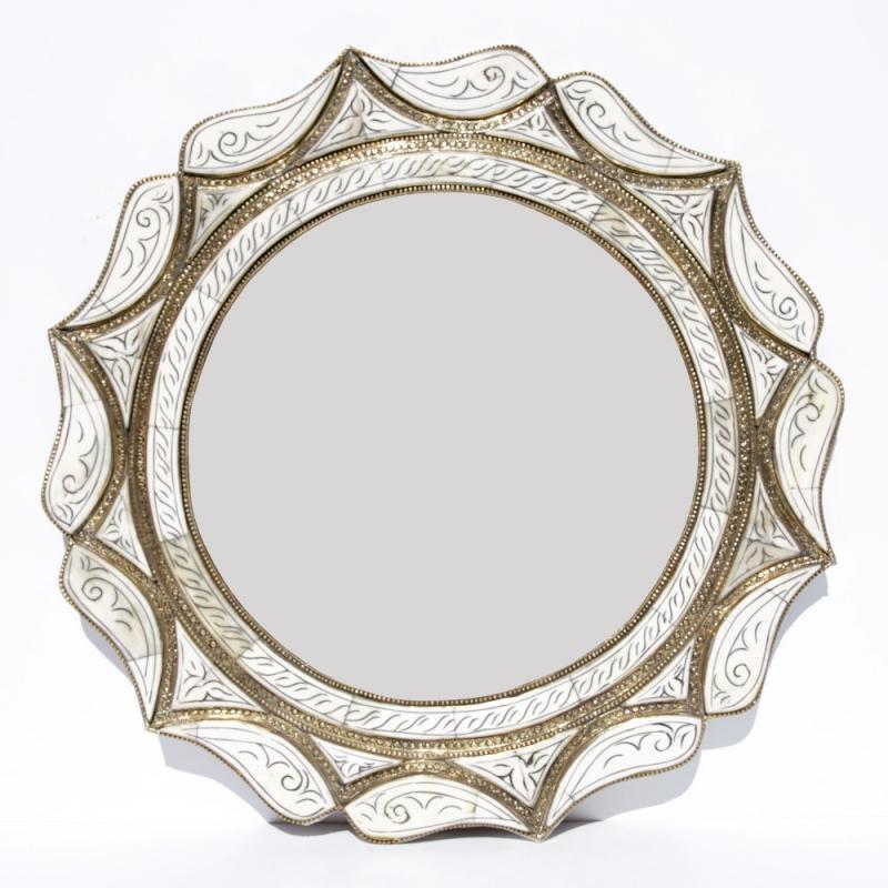 Marokkanischer Spiegel MAHAL weiss D50cm
