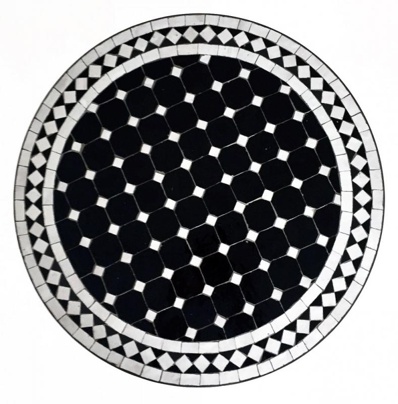 Orientalischer Marokkanischer Mosaiktisch Teetisch Orient D60cm SAOUDA Schwarz