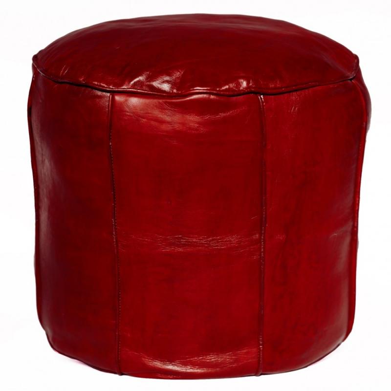 Arabisches Leder Sitzkissen RONDA Bordeaux-Rot D45cm