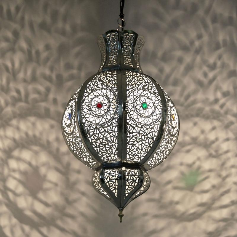 Marokkanische Hängelampe MALIKA silber