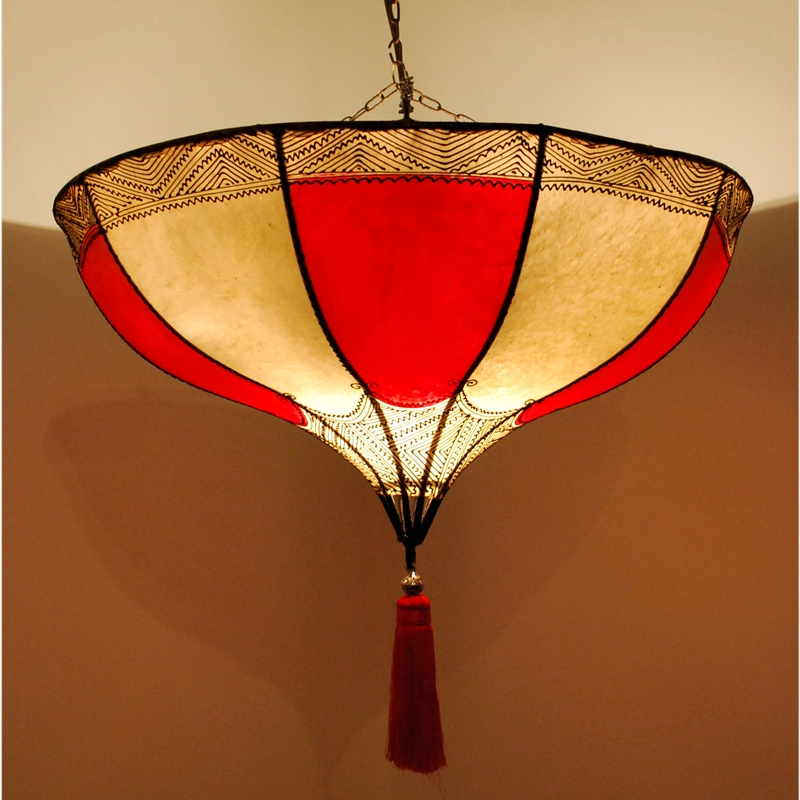 Hängelampe aus Leder ROUMIA Rot-Weiss D54cm