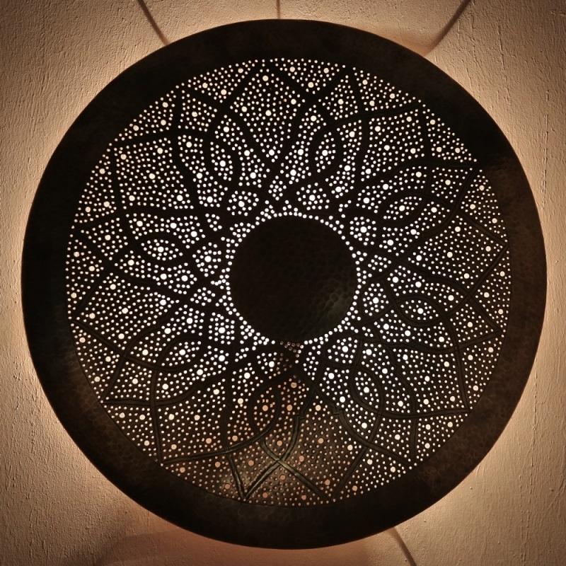 Orientalische Laterne Marokkanische Wandleuchte Messing DORA ZWAK XXL D100cm