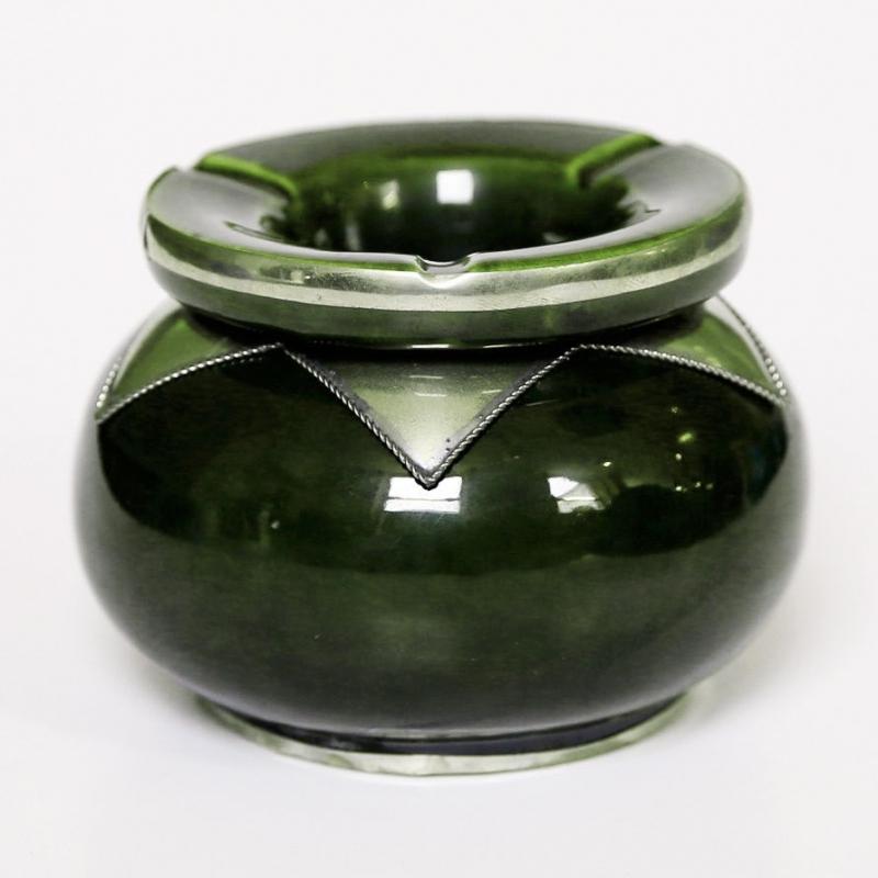 Marokkanische orientalische Keramik Aschenbecher Grün, Olivgrün