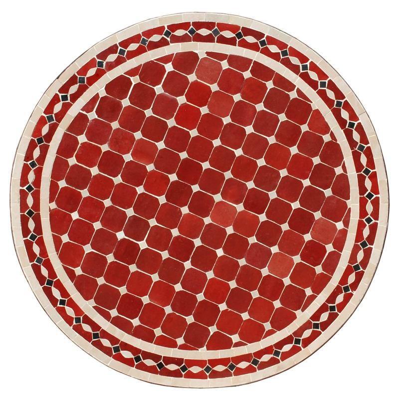 Marokkanische Mosaiktisch SITOUNA D80cm Bordeauxrot/Beige