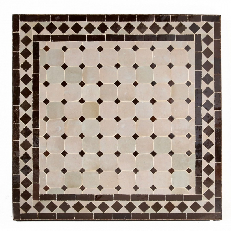 Orientalischer Mosaiktisch MOSA6 quadratig (60x60)cm Beige / Dunkel Braun aus Mosaikfliesen