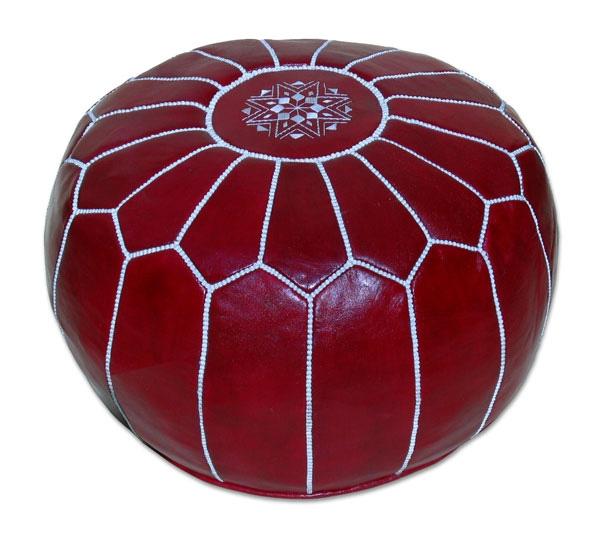 Orientalische Marokkanische Leder Sitzkissen MARAKKECH D54cm Rot