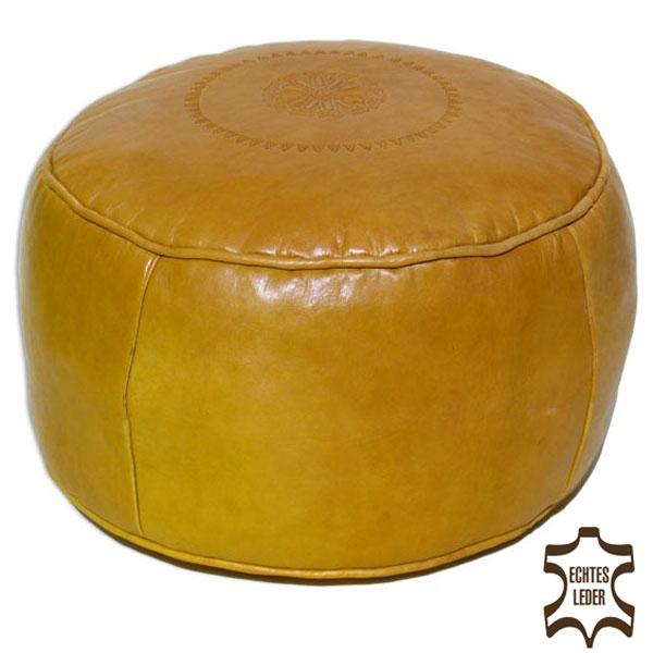 Arabisches Ledersitzkissen SALE Gelb D42cm