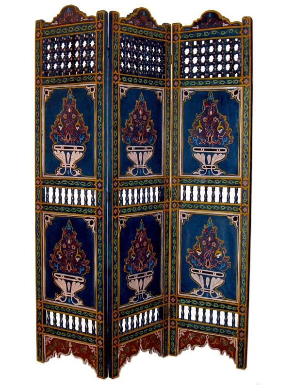 Orientalischer arabischer marokkanischer Paravant Holz Raumteiler MAURESQUE 2 Blau H180 x B130cm