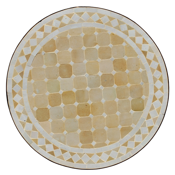 Mosaiktisch aus Marokko D60cm WEISS/BEIGE
