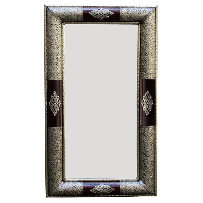 orientalischer spiegel aus metall und leder kados 120 x 70cm albazar. Black Bedroom Furniture Sets. Home Design Ideas