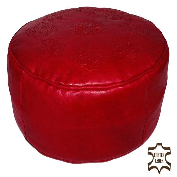 Marokkanisches Sitzkissen aus Leder SALE Rot D42cm