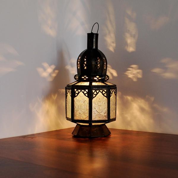 Marokkanische Arabische orientalische Glaslaterne SAMARA Weiß