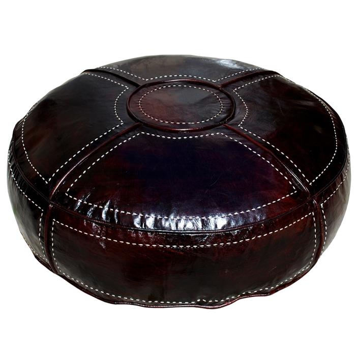 Orientalischer marokkanischer Sitzkissen RONDA Dunkelbraun XXL D85cm