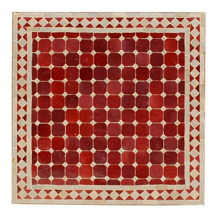Mosaiktisch (60x60)cm Bordeaux/Beige