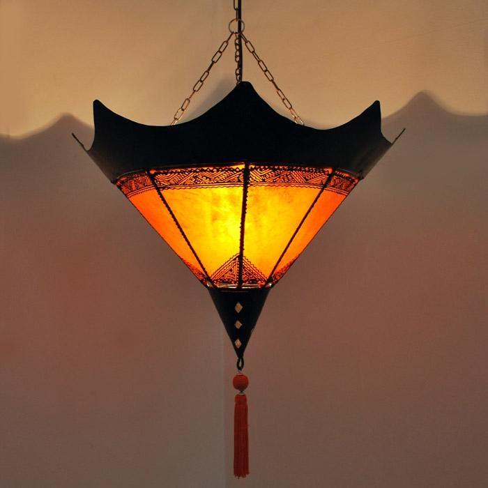 Lederlampe aus Marokko SHASHIA ORANGE 50cm