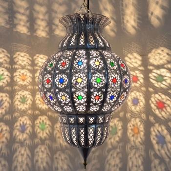 Orientalische Deckenleuchte Rania Silber