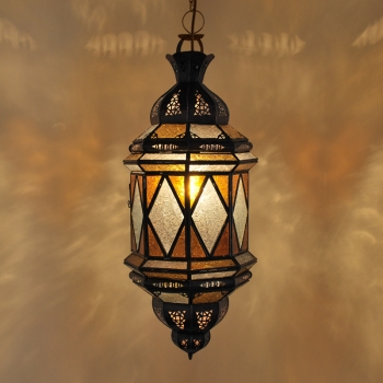 Arabische Lampe Babil H70cm, Maurisches Glas Amber-Weiss