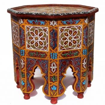Orientalischer Teetisch aus Holz Ahlam Handbemalen.
