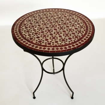Marokkanischer Mosaiktisch -Tarsia- bordeauxrot D60cm