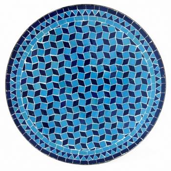 Marokkanischer Mosaiktisch -Fassia- blau_tuerkis D60cm