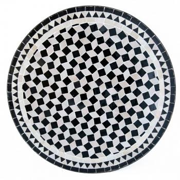 Orientalischer Marokkanischer Mosaiktisch Teetisch D60cm Fassia Schwarz