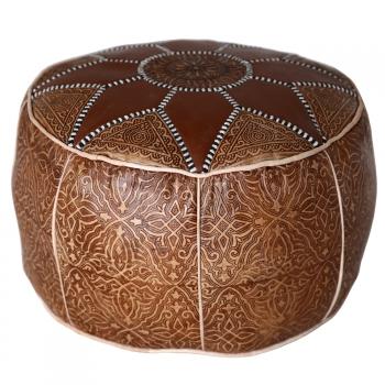 Marokkanisches Orientalisches Ledersitzkissen Salam_1 D50 cm