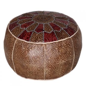 Marokkanisches Orientalisches Ledersitzkissen Salam_2 D50 cm