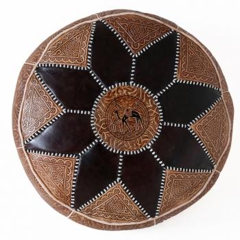 Marokkanisches Orientalisches Ledersitzkissen Salam_1 Schwarz