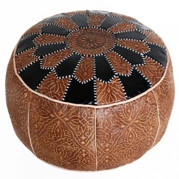 Orientalisches Ledersitzkissen aus Marokko SALAM 2 Schwarz/Braun