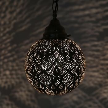 Orientalische Hängeleuchte Marokkanische Lampe Hängelampe TAZWIK aus Messing