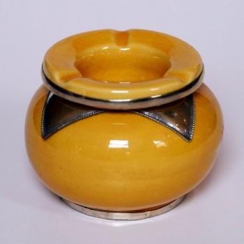 Marokkanische orientalische Keramik Aschenbecher Gelb