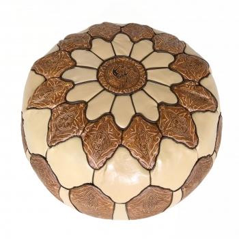 Orientalischer arabischer marokkanischer Ledersitz JAMAL Braun/Beig D58cm