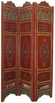Orientalischer arabischer marokkanischer Paravant Holz Raumteiler handbemalen MAURESQUE 1 Rot H180 x B130cm