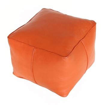 orientalischer Leder-Hocker CARRE Orange
