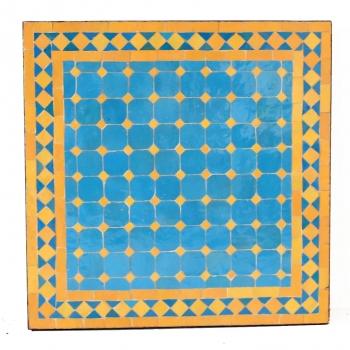 Marokkanischer Gartentisch MOSA2 quadratig (60x60)cm Gelb / Hellblau aus Mosaikfliesen