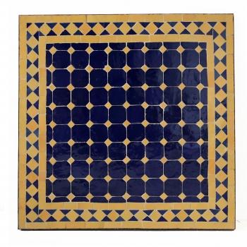 Orientalischer Mosaiktisch MOSA-1 quadratig (60x60)cm Gelb / Dunkelblau