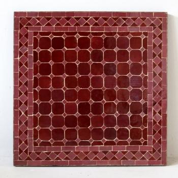 Orientalischer Gartentisch MOSA-5 quadratig (60x60)cm Rosa / Bordeaux Rot aus Mosaikfliesen