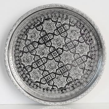 Marokkanisches rundes Teetablett aus versilbertem Messing  D37cm