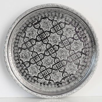 Orientalisches rundes Teetablett aus versilbertem Messing D32cm