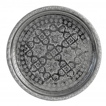 Orientalisches rundes Teetablett aus versilbertem Messing D27cm