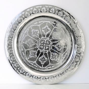 Marokkanisches rundes Silbertablett aus Messing D40cm