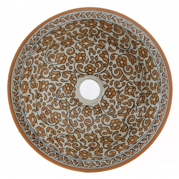 Orientalisches Waschbecken handbemalt aus Keramik FESI D35cm