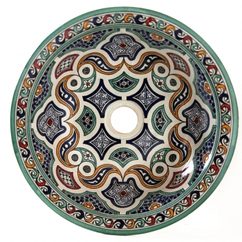 Arabisches Waschbecken handbemalt aus Keramik FESI-I D42cm
