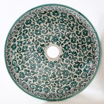Marokkanisches Waschbecken handbemalt aus Keramik FES-V-I D39cm