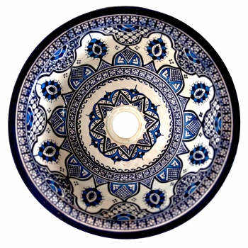 Arabisches Waschbecken handbemalt aus Keramik FES-X-II Blau D35cm